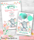 Elephant Baby Shower Invitation - PRINTABLE PDF