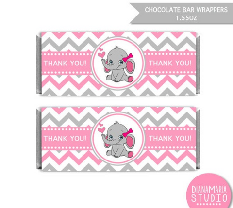 Chocolate Bar Wrappers Elephant Girl Baby Shower Printable Candy Wrapper Label Pink Chevron