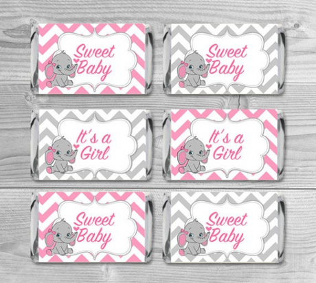 Mini Candy Wrappers Candy Bar Elephant - Baby Shower Favors - Pink and gray chevron pattern - INSTANT DOWNLOAD