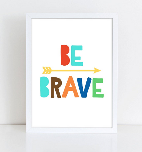 Be Brave Quote, Motivational Typography Print, Be Brave Nursery, Be Brave Print, Printable Instant Download