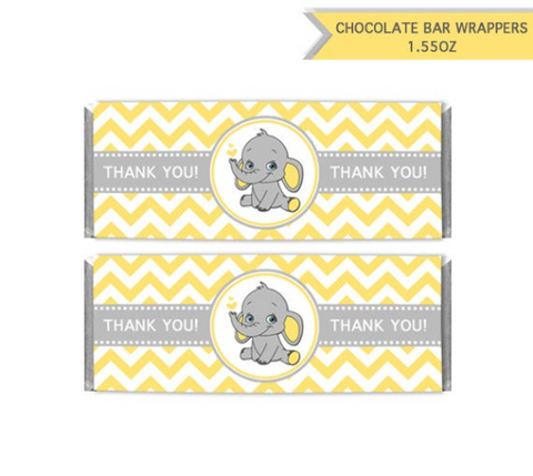 Chocolate Bar Wrappers Elephant Neutral Baby Shower Printable Candy Wrapper Label Yellow Chevron - Thank you favors