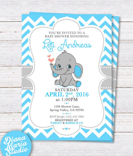 Elephant Baby Shower Invitation - Printable Boy Baby Shower invitation - Blue and gray chevron