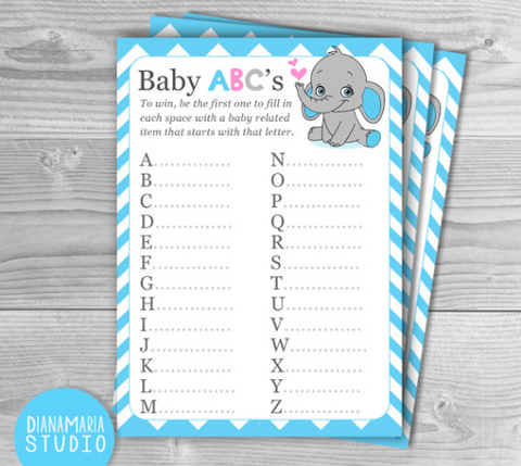 Boy Baby Shower Game-Baby ABC - Elephant Blue Chevron theme - DIY Printable Digital Games