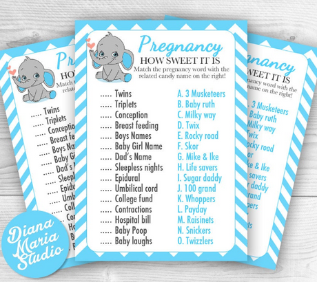 Match a candy game -Boy Baby Shower Game How sweet it is - Elephant Blue chevron - INSTANT DOWNLOAD