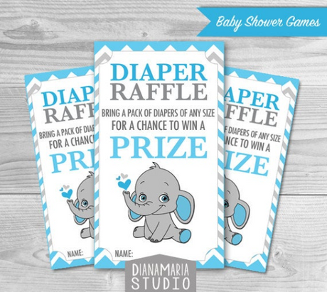 Elephant Diaper Raffle Tickets Printables for Baby Boy Shower DIY blue, gray chevron - INSTANT DOWNLOAD