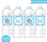 Water Bottle Labels Blue Elephant Baby Shower Printable labels - It's a boy baby shower-INSTANT DOWNLOAD