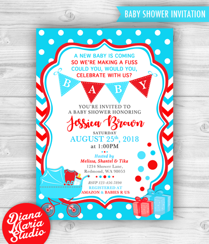 Dr Seuss Baby Shower Invitation Printable Invites