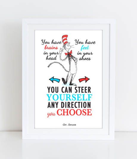 Dr Seuss Quote You can steer yourself any direction you choose- PDF DOWNLOAD