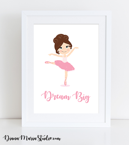 Printable Ballerina Wall Art Girls Room Decor Ballerina Girl