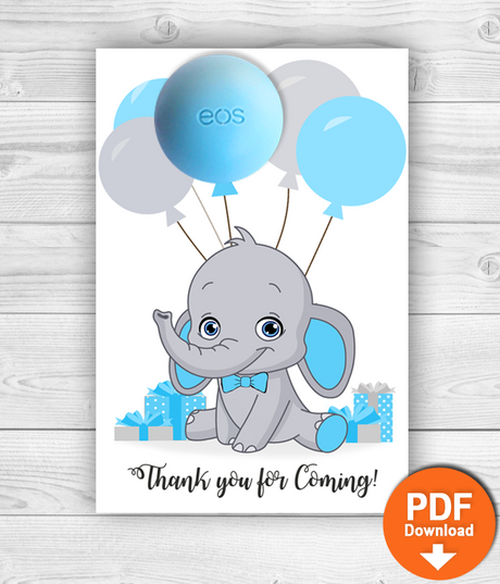 Eos Balm Holder Elephant Baby Shower Favors - INSTANT DOWNLOAD