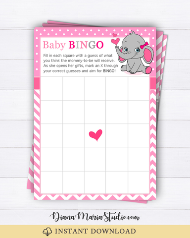 Baby Shower Bingo Pink Elephant Baby Shower Bingo Cards - INSTANT DOWNLOAD