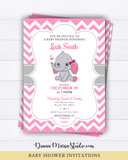 Elephant Baby Shower Invitation - Girl baby shower invite - Pink and gray invite chevron - PRINTABLE