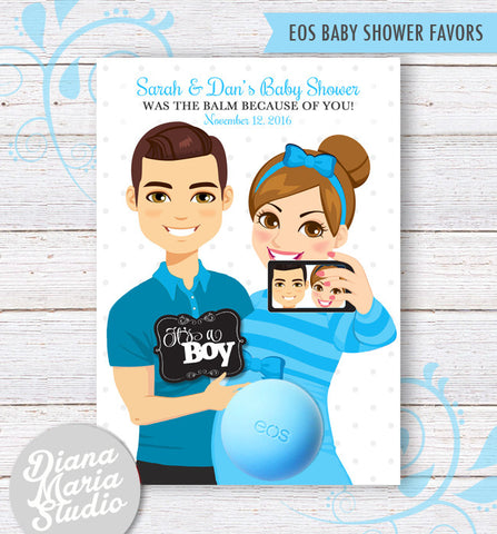 Couples Baby Shower Favor Card for eos lip balm - It's a Boy