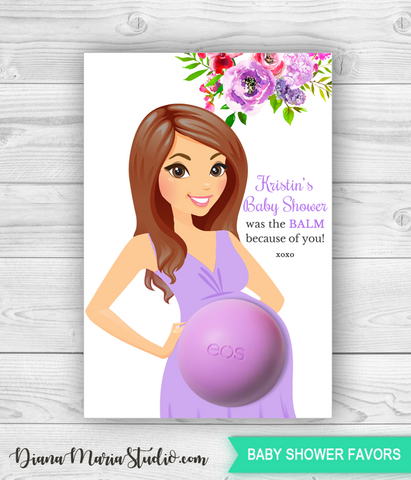 Eos Baby Shower Favors Belly Balm Holder Floral Baby Shower - PRINTABLE CARD