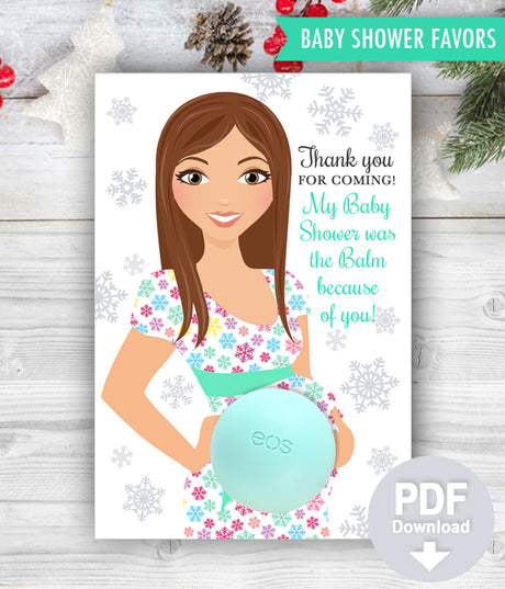 Eos Balm Holder Baby Shower Favors - Winter Wonderland Baby Shower Snowflakes Favor Card Template - INSTANT DOWNLOAD
