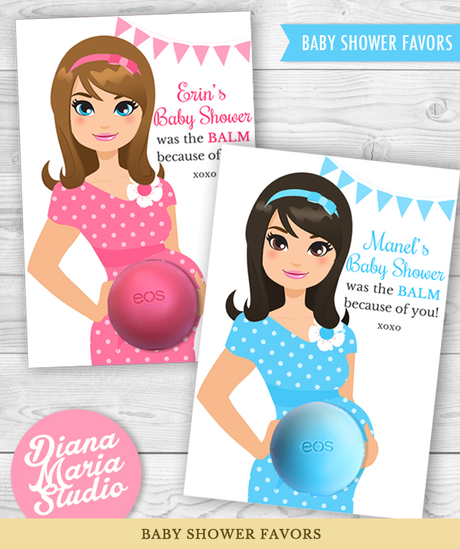 Baby Shower Favor Cards for Eos Lip Balm Favors Mom-to-be illustration - PRINTABLE CARD