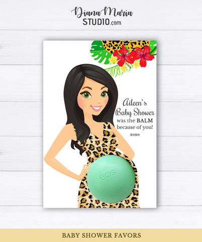 EOS Balm Holder Baby Shower Favors Mom-to-be in Leopard pattern dress PRINTABLE FAVORS