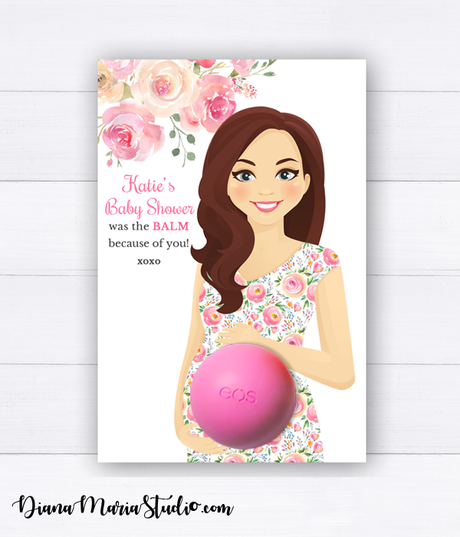 Baby Shower Favors Eos Balm Holder Floral Baby Shower Theme - PRINTABLE CARD