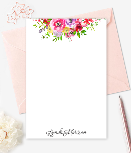 image about Printable Note Card known as Watercolor Floral Notice Playing cards Customized Stationery - Do it yourself Printable Observe Card
