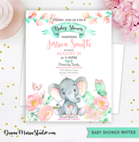 Elephant Girl Baby Shower Invitation and Favors - Printable PDF