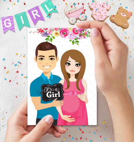 Gender Reveal Card It's a Girl - Pregnancy Announcement - INSTANT DOWNLOAD