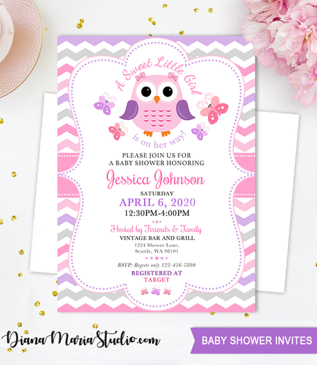 Baby Shower Invitation , Owl Purple Pink baby girl invite-A sweet Little Girl is on her way, gray purple chevron, pink