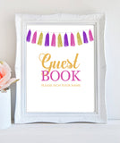 Girl Baby Shower Decorations - Welcome sign , Guest book sign, Favors sign - Tassel Pink Gold - INSTANT DOWNLOAD