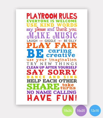 PlayRoom Rules for Home, Daycare and Kindergarten - Size 18x24 - INSTANT DOWNLOAD