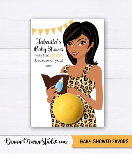 EOS Balm Holder Baby Shower Favors African American Mom-to-be Leopard pattern dress PRINTABLE FAVORS