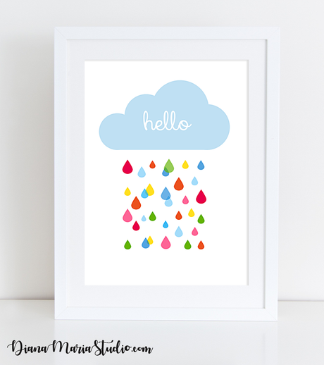 Cloud Nursery Wall Art - Girl Room Art - Boy Room Art - INSTANT DOWNLOAD