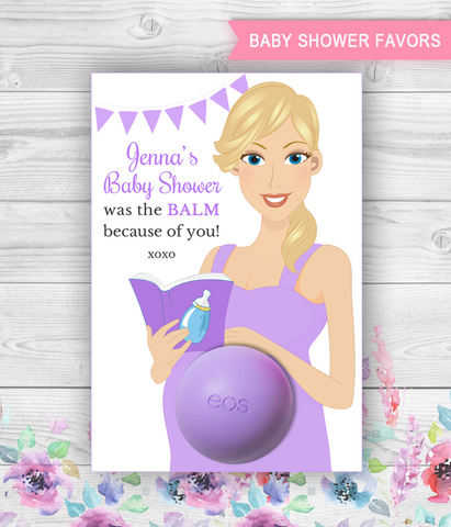Eos Baby Shower Favors Pregnant Mom-to-be with book and baby bottle Eos Balm Holder - PRINTABLE CARD