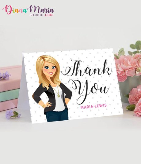 DIY Thank You Cards Personalized Stationery Custom Illustration - Printable Card