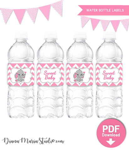 Printable Water Bottle Labels Elephant Baby Shower INSTANT DOWNLOAD