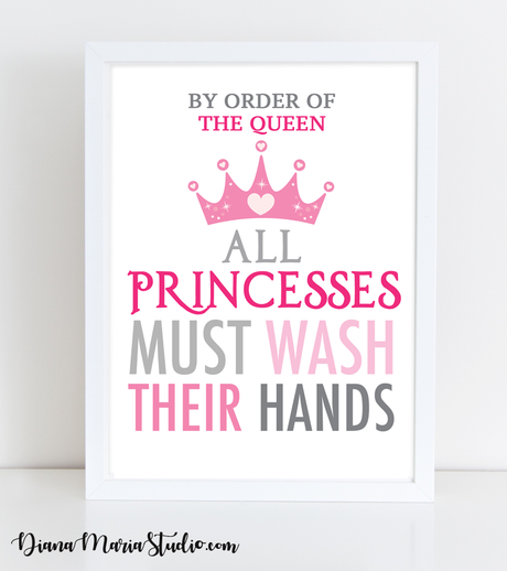 Children's Bathroom Wall Art - Printable nursery wall art - All Princesses must wash their hands - Size 8x10 - INSTANT DOWNLOAD