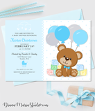 Teddy Bear Blocks Baby Shower Invitation - Girl Baby Shower