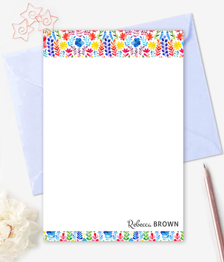 Floral Watercolor Note Cards Personalized Stationery - Printable Card