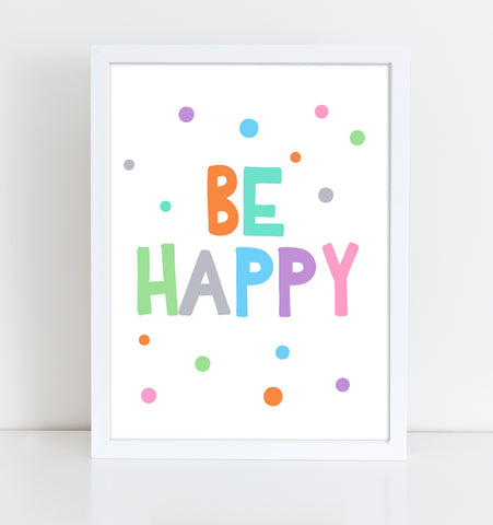Printable Playroom wall art, children print, kids decor, Be happy quote, kids print, nursery art, be happy print