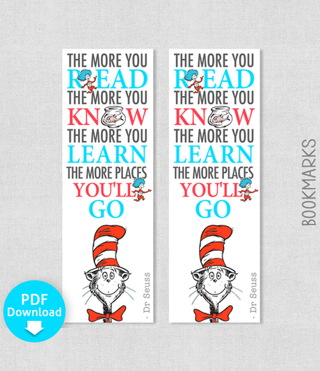 Printable Dr Seuss Bookmark The more that you read, the more you know - PDF Download