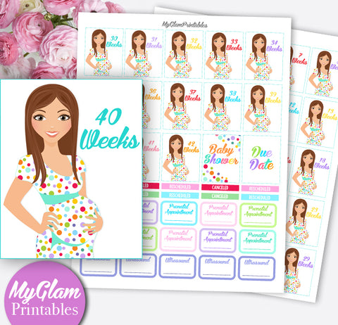 Pregnancy Planner Stickers Printable, Erin Condren Planner Pregnancy Countdown Weeks, Pregnancy Stickers, Ultrasound, Prenatal appointment stickers