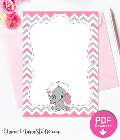 Printable Thank you cards Girl Baby Shower Elephant Theme INSTANT DOWNLOAD