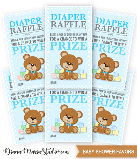 Printable Diaper Raffle Tickets Teddy Bear Baby Shower Game Raffle Tickets- INSTANT DOWNLOAD