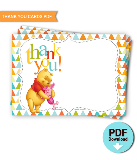 Printable Thank you Cards Winnie the Pooh Baby Shower - INSTANT DOWNLOAD