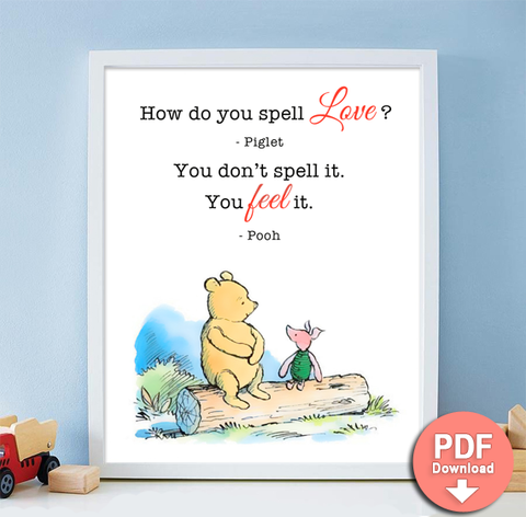 How do you spell love Printable Quote Winnie the Pooh Milne - PDF Download