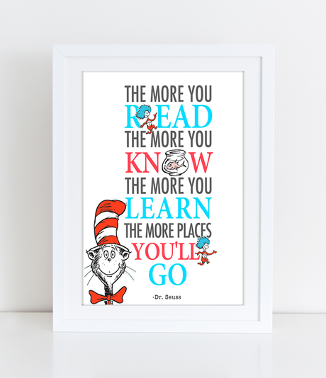 Printable Dr. Seuss Quote - The more that you read, the more you know - INSTANT DOWNLOAD