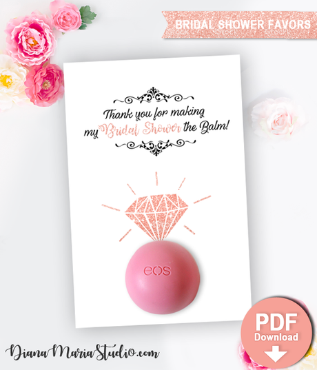 Rose Gold Ring Balm Holder - Eos Bridal Shower Favors - Rose Gold Bridal Shower Gifts - Engagement ring - DIY Favors -PRINTABLE PDF