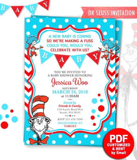 image relating to Dr Seuss Printable Hat identify Printable Dr Seuss Kid Shower Invitation Cat within just the hat Invitations
