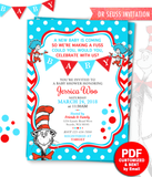 Printable Dr Seuss Baby Shower Invitation Cat in the hat Invites