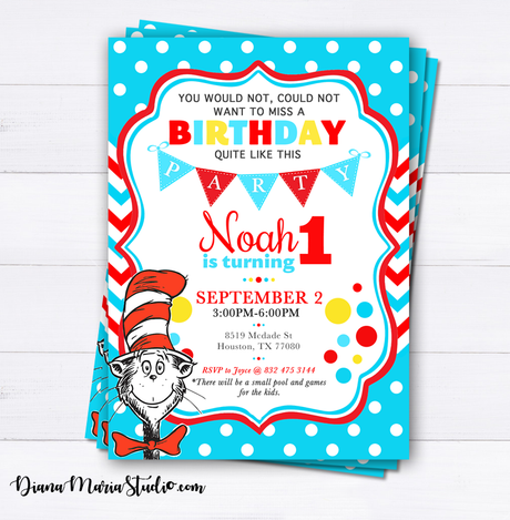 Printable Dr Seuss Birthday Invitation Cat in the hat Invites
