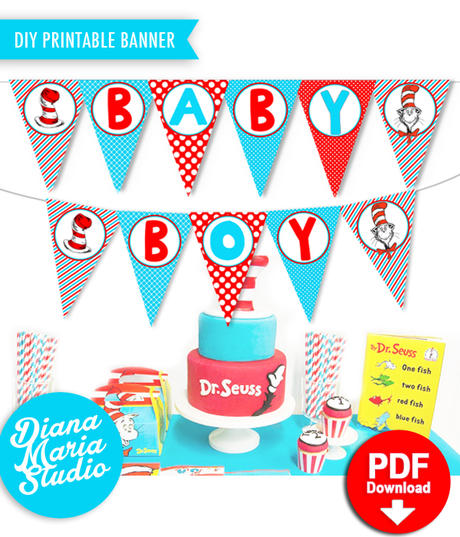 Boy Baby Shower Banner - Printable Dr Seuss Decorations Baby Shower -Cat in the Hat Party Pennant Banner - INSTANT DOWNLOAD