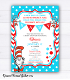 Dr Seuss Baby Shower Invitation Cat in the hat Baby Shower Invites